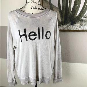 "WILDFOX ""HELLO"" Beige/Gray Sweatshirt Pullover M"